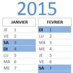 Calendrier provisoire de la saison 2015